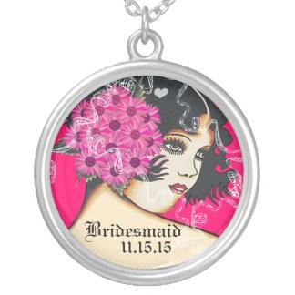 Collier de demoiselle d'honneur de mariage de rose