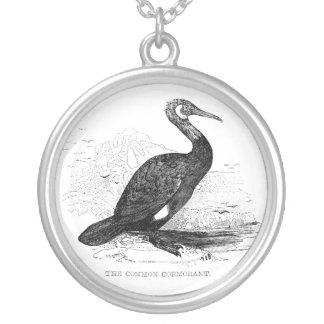 Collier Dessin vintage de faune d'oiseau de Cormorant