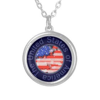 Collier drapeau patriotique rouge/bleu des Etats-Unis