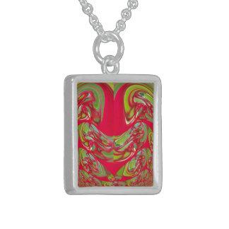 Collier En Argent Cadeaux vintages rouges et verts de Flora Hakuna