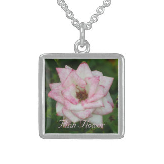 Collier En Argent Fleur blanche rose