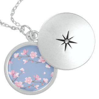 Collier En Argent Fleurs de cerisier - bleu de sérénité