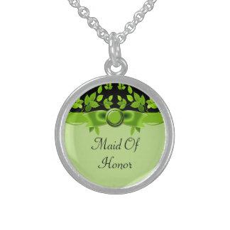 Collier En Argent L'arbre vert et noir part du mariage