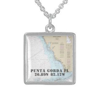 Collier En Argent Longitude de latitude de ville de Punta Gorda FL