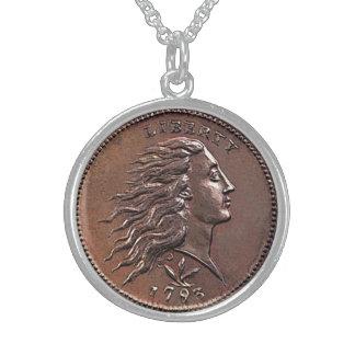 Collier En Argent Penny rare des 1793 États-Unis