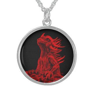 Collier En Argent Peu de dragon rouge