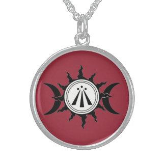 Collier En Argent Talisman de Sigil de lune d'Awen