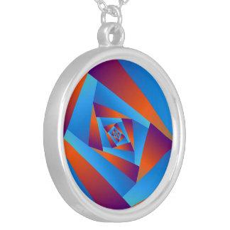 Collier en spirale orange et bleu