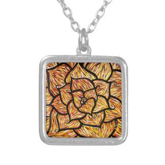 Collier Fleur orange abstraite