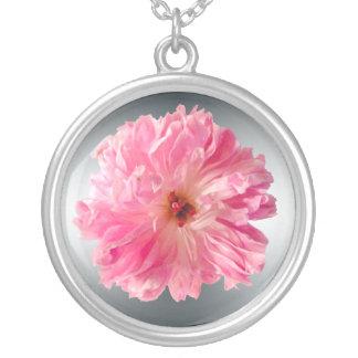 Collier Fleur rose de pivoine