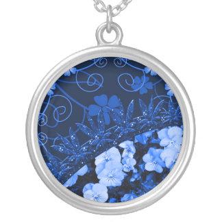 Collier Floral bleu se sentant et parties scintillantes
