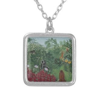 Collier Forêt tropicale de Rousseau avec des singes
