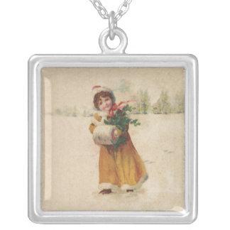 Collier Hiver vintage d'enfant de neige de Noël