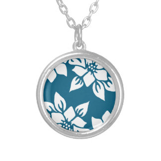 Collier Impression florale turquoise