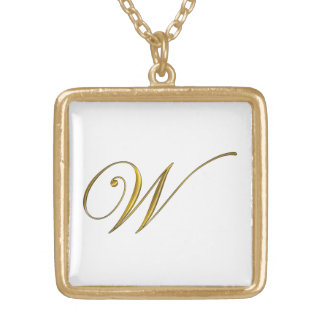 Collier initial du monogramme W d'or