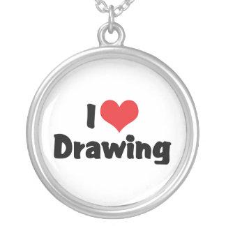 Collier J'aime le dessin de coeur - les artistes et