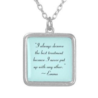 Collier Je mérite la meilleure citation de Jane Austen de