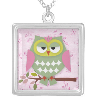 Collier Jolie maman Owl Square Pendant Necklace