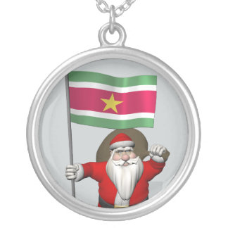 Collier Le père noël avec le drapeau du Surinam