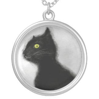 Collier Maître de mal plaqué grand par argent de chat noir