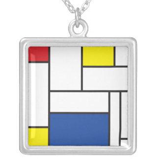 Collier minimaliste d'art moderne de Mondrian de