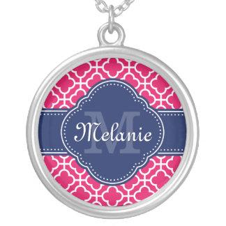 Collier Monogramme marocain blanc rose de marine de motif