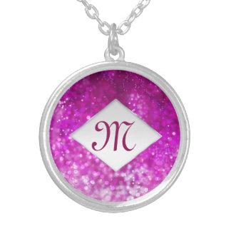 Collier Monogramme rose lumineux de galaxie de cool de