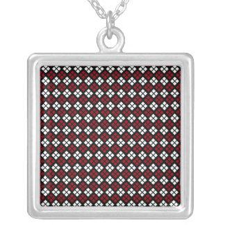 Collier Motif à motifs de losanges rouge et blanc élégant