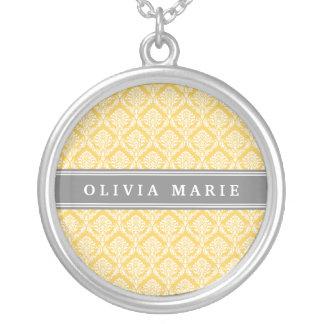 Collier Motif jaune élégant de damassé avec le nom gris