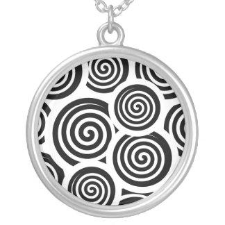 Collier Motif noir et blanc de vecteur de spirales