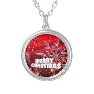 Collier Neige rouge de blanc de Noël