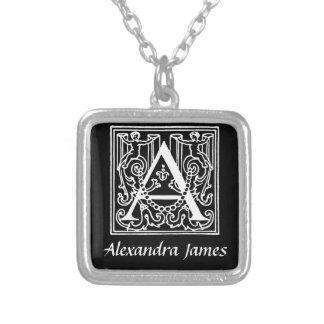 Collier Noir, blanc un art Nouveau de monogramme