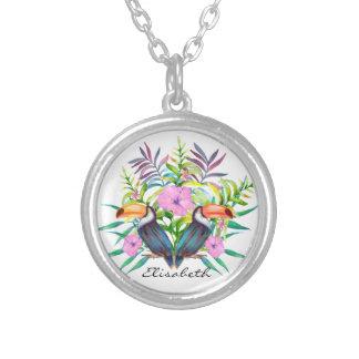 Collier Oiseaux tucan tropicaux et fleurs roses