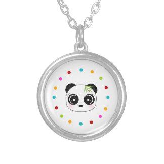 Collier Panda mignon, cercle de point de polka