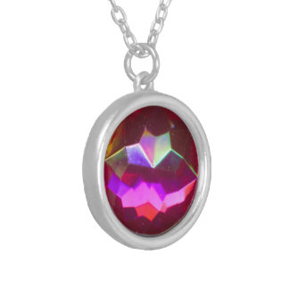 Collier Pierre gemme rose iridescente