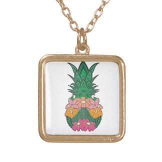 Collier Plaqué Or Ananas fleuri
