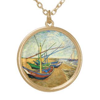 Collier Plaqué Or Bateaux de pêche de Van Gogh sur la plage chez