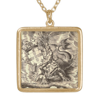 Collier Plaqué Or Carte Poseidon du monde