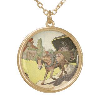 Collier Plaqué Or Chariot hippomobile illustré