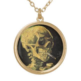 Collier Plaqué Or Crâne de Van Gogh avec la cigarette brûlante, art