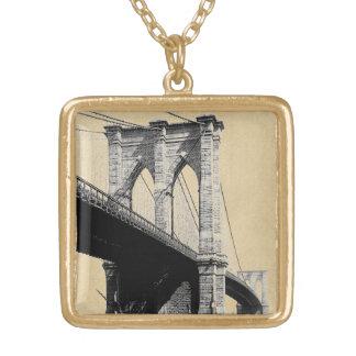 Collier Plaqué Or Ferrys-boat 1896 de pont de Brooklyn