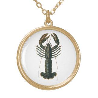 Collier Plaqué Or Homard vintage, crustacé marin de la vie d'océan