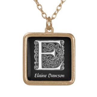 Collier Plaqué Or Initiale décorative de monogramme de la lettre E