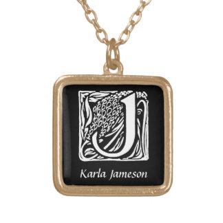 Collier Plaqué Or Initiale décorative de monogramme de la lettre J
