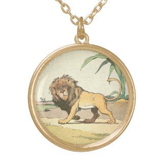 Collier Plaqué Or Lion de vagabondage de jungle illustré