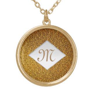 Collier Plaqué Or Monogramme chic d'or élégant de scintillement