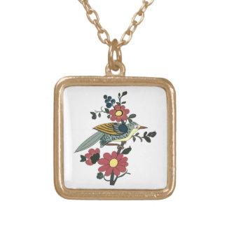 Collier Plaqué Or Oiseau et fleur