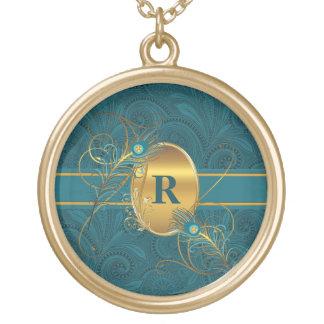 Collier Plaqué Or Paon décoré d'un monogramme dans Teal et des