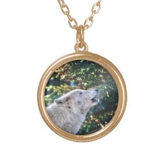 Collier Plaqué Or Photo de faune de loup gris d'hurlement