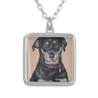 Collier Portrait noir de dessin de chien de rottweiler